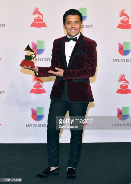 Christian Nodal winner of Best Regional Song for 'Problemente' poses in the press room during the 19th annual Latin GRAMMY Awards at MGM Grand Garden...
