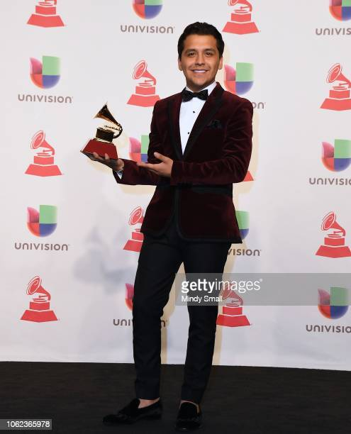 Christian Nodal winner of Best Regional Song poses in the press room during the 19th annual Latin GRAMMY Awards at MGM Grand Garden Arena on November...