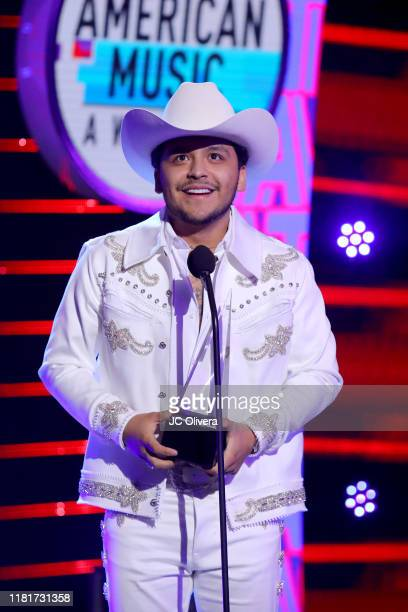Christian Nodal winner of Favorite Regional Mexican Artist speaks onstage during the 2019 Latin American Music Awards at Dolby Theatre on October 17...