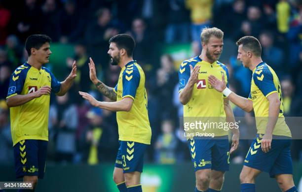 Christian Norgaard Anthony Jung Paulus Arajuuri and Kamil Wilczek of Brondby IF celebrate after scoring their third goal during the Danish Alka...
