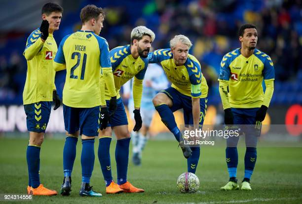 Christian Norgaard Lasse Vigen Christensen Anthony Jung Johan Larsson and Hany Mukhtar of Brondby IF prior to a freekick during the Danish Alka...