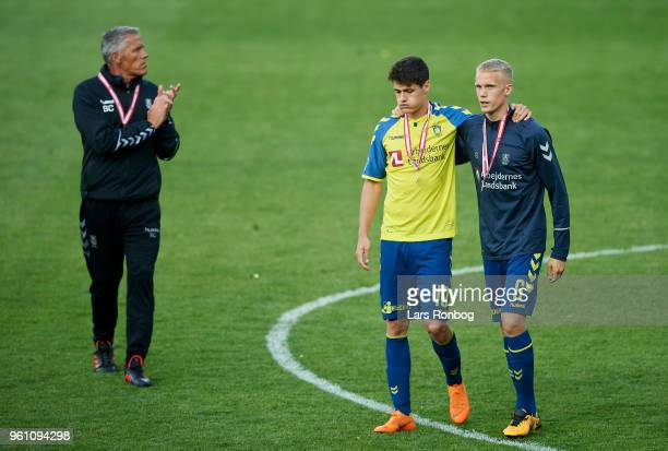 Christian Norgaard of Brondby IF and Hjortur Hermannsson of Brondby IF huddle after the Danish Alka Superliga match between Brondby IF and AaB...
