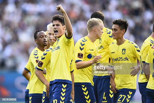 Christian Norgaard of Brondby IF celebrating the 03 goal from Andrew Hjulsager during the Danish Alka Superliga match between AGF Arhus and Brondby...