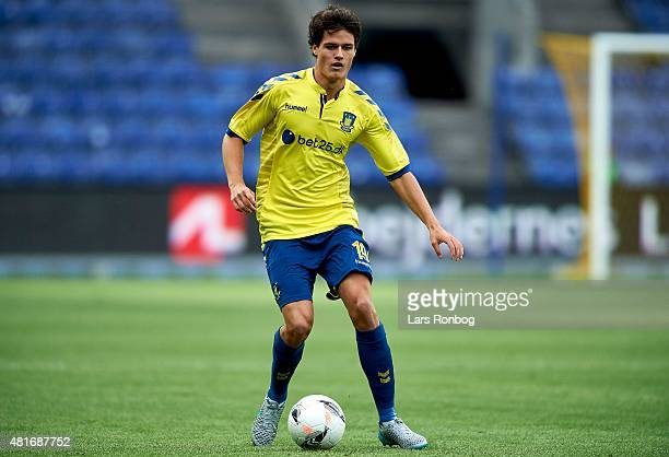 Christian Norgaard of Brondby IF controls the ball during the UEFA Europa League Qualification match between Brondby IF and PFC Beroe Stara Zagora at...