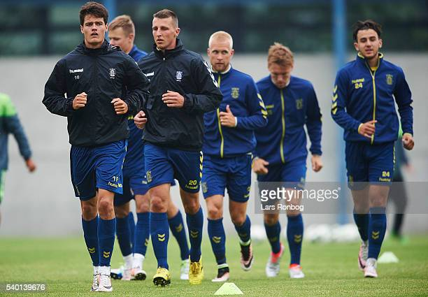 Christian Norgaard of Brondby IF leading the warm up during the Brondby IF training session at Brondby Stadion on June 14 2016 in Brondby Denmark