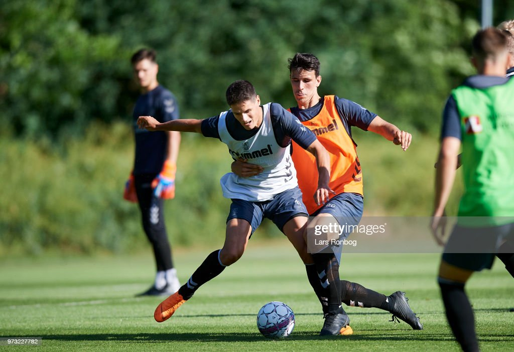 Christian Norgaard of Brondby IF nd Filip Blazek of Brondby IF compete for the ball during the Brondby IF training session at Brondby Stadion on June 13, 2018 in Brondby, Denmark.