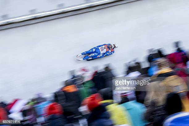 Christian Oberstolz and Patrick Gruber of Italy compete in the first heat of the Men's Double Luge competition during the second day of the FILWorld...