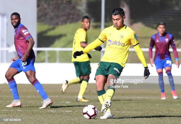 Christian of FC Pacos de Ferreira in action during the Liga Ledman Pro match between CD Cova da Piedade and FC Pacos de Ferreira at Estadio Municipal...