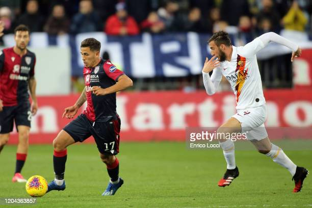 Christian Oliva of Cagliari controls the ball during the Serie A match between Cagliari Calcio and AS Roma at Sardegna Arena on March 1 2020 in...