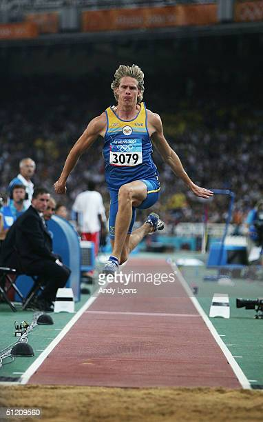 Christian Olsson of Sweden competes in the men's triple jump final on August 22 2004 during the Athens 2004 Summer Olympic Games at the Olympic...