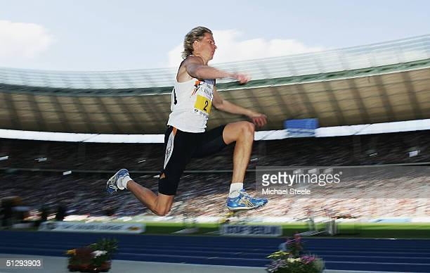 Christian Olsson of Sweden in action during the Long Jump at the IAAF Golden League Meet in the Olympic Stadium on September 12, 2004 in Berlin,...