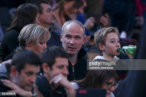 Christian Omeyer twin brother of Thierry Omeyer of France is watching the the 25th IHF Men's World Championship 2017 Semi Final match between France...