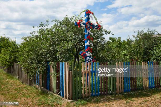 Christian Orthodox cross marks the entrance of a village on June 23 2019 in Brest Belarus