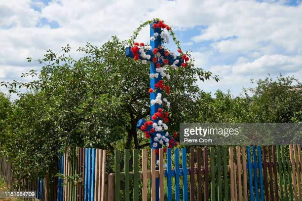Christian Orthodox cross marks the entrence of a village on June 23 2019 in Brest Belarus