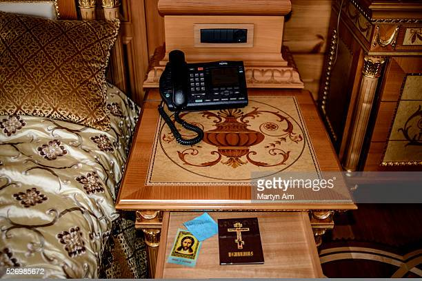 A Christian Orthodox prayer book and icon of Christ beside the bed of deposed Ukrainian president Viktor Yanukovych in his mansion in Kiev