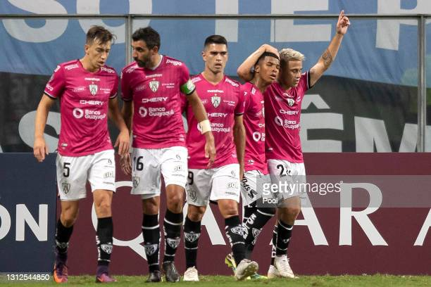 Christian Ortíz of Independiente del Valle celebrates with teammates after scoring the first goal of his team during a third round second leg match...