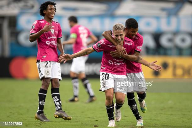 Christian Ortíz of Independiente del Valle celebrates with teammates after scoring the second goal of his team during a third round second leg match...