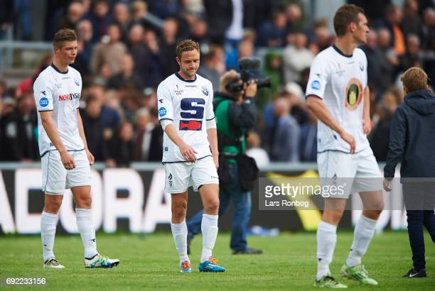 Christian Overby of Vendsyssel FF looks dejected after the Danish Alka Superliga Playoff match between Vendsyssel FF and AC Horsens at Bredband Nord...