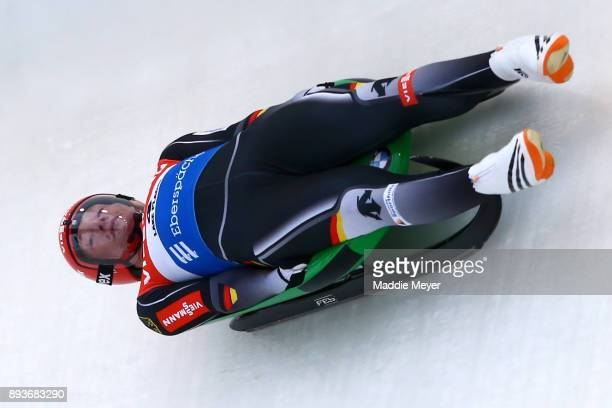Christian Paffe of Germany completes his second run in the Men's competition of the Viessmann FIL Luge World Cup at Lake Placid Olympic Center on...