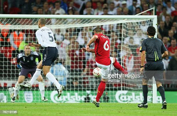 Christian Pander of Germany scores a goal during the international friendly match between England and Germany at Wembley stadium on August 22, 2007...