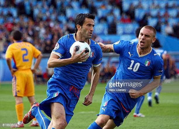 Christian Panucci of Italy celebrates with team mate Daniele De Rossi after scoring his teams first goal during the UEFA EURO 2008 Group C match...