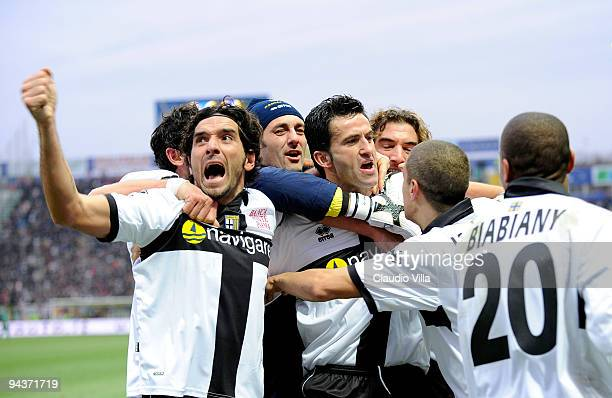 Christian Panucci of Parma FC celebrates after scoring the first goal during the Serie A match between Parma and Bologna at Stadio Ennio Tardini on...