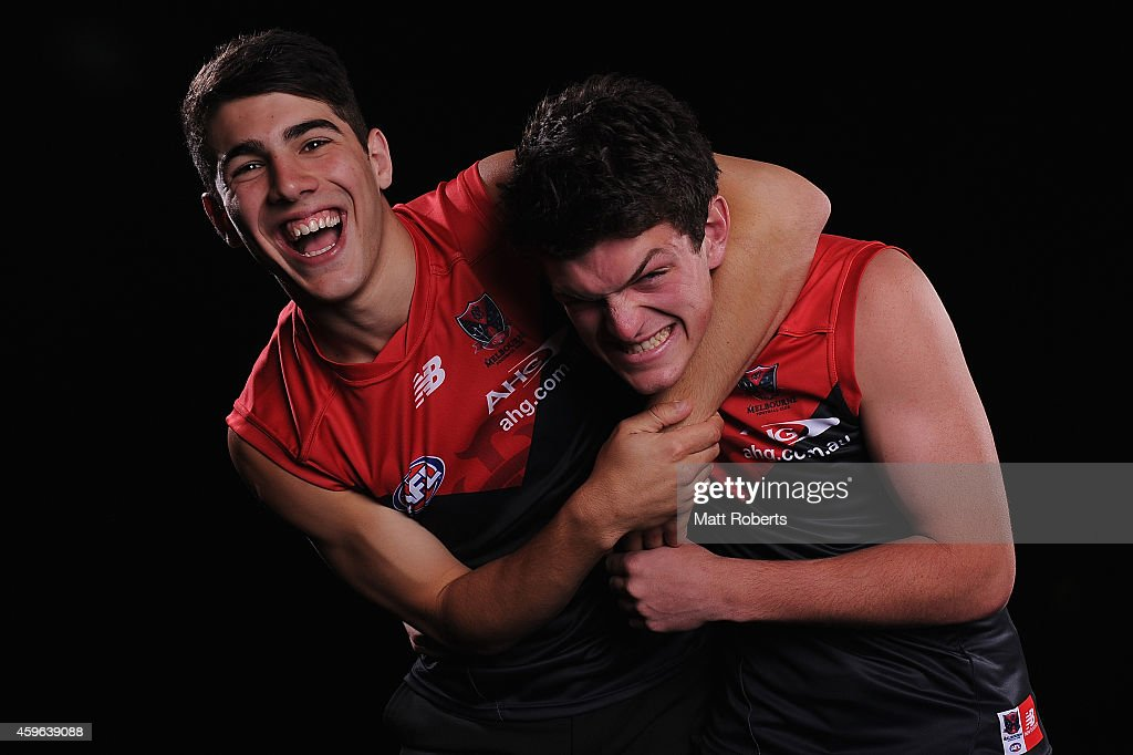 Christian Petracca and Angus Brayshaw pose for a photo after being drafted to Melbourne during the 2014 AFL Draft at the Gold Coast Convention Centre on November 27, 2014 on the Gold Coast, Australia.