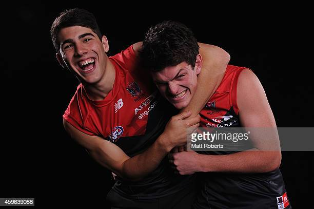 Christian Petracca and Angus Brayshaw pose for a photo after being drafted to Melbourne during the 2014 AFL Draft at the Gold Coast Convention Centre...