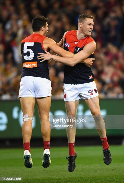 Christian Petracca and Tom McDonald of the Demons celebrate a goal during the AFL Semi Final match between the Hawthorn Hawks and the Melbourne...