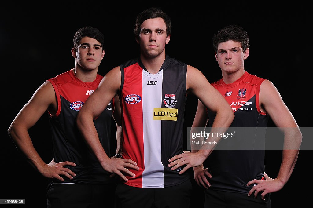 Christian Petracca of Melbourne, Patrick McCartin of St Kilda and Angus Brayshaw of Melbourne pose for a photo during the 2014 AFL Draft at the Gold Coast Convention Centre on November 27, 2014 on the Gold Coast, Australia.