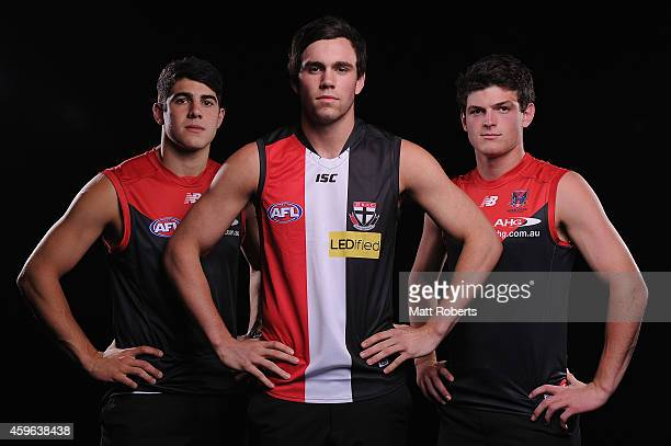 Christian Petracca of Melbourne Patrick McCartin of St Kilda and Angus Brayshaw of Melbourne pose for a photo during the 2014 AFL Draft at the Gold...