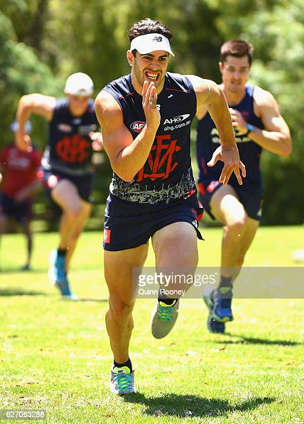 Christian Petracca of the Demons does hill climbs at King's Domain during the Melbourne Demons AFL preseason training session at Gosch's Paddock on...