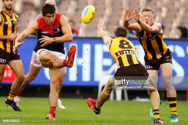 Christian Petracca of the Demons kicks at goal during the round four AFL match between the Hawthorn Hawks and the Melbourne Demons at Melbourne...