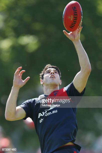 Christian Petracca of the Demons marks the ball during a Melbourne Demons AFL training session at Gosch's Paddock on November 13 2017 in Melbourne...