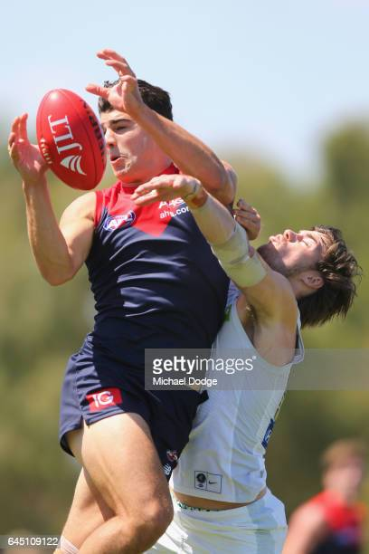 Christian Petracca of the Demons marks the ball during the JLT Community Series AFL match between the Melbourne Demons and the Carlton Blues at Casey...