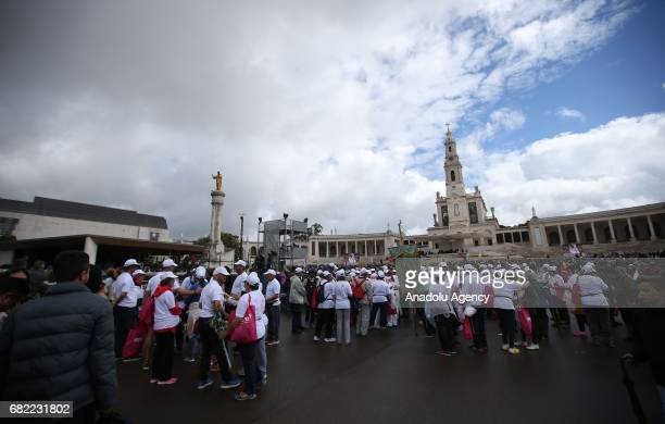 Christian pilgrims arrive in Shrine of Our Lady of Fatima for the visit of Pope Francis in Fatima Portugal on May 12 2017