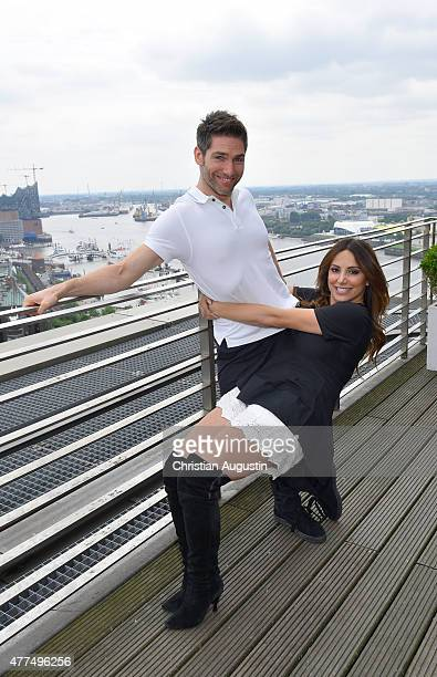Christian Polanc and Enissa Amani present their dancing fitness concept at the Elbpanorama on June 17 2015 in Hamburg Germany