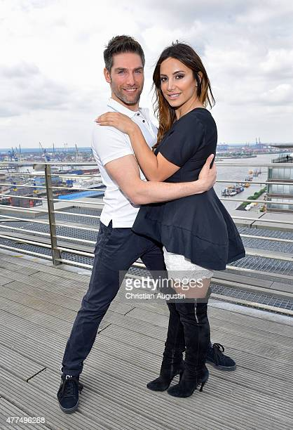 Christian Polanc and Enissa Amani present their dancing fitness concept at the Elbpanorama on June 17, 2015 in Hamburg, Germany.