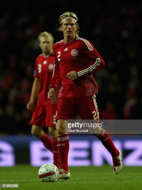 Christian Poulsen of Denmark in action during the FIFA 2010 group one World Cup Qualifying match between Denmark and Hungary at the Parken stadium on...