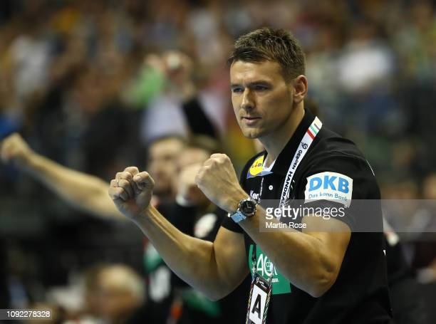Christian Prokop head coach of Germany celebrates during the 26th IHF Men's World Championship group A match between Korea and Germany at...