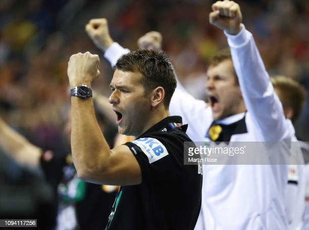 Christian Prokop head coach of Germany celebrates during the 26th IHF Men's World Championship group A match between Russia and Germany at...