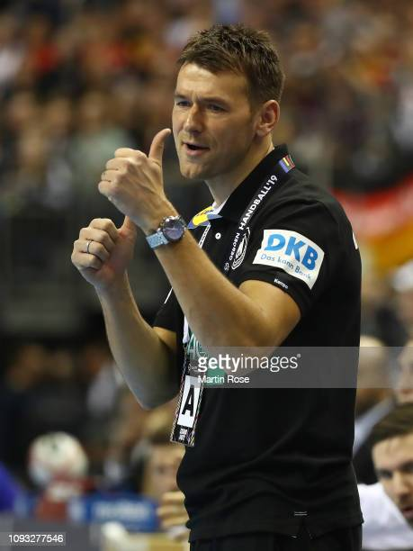 Christian Prokop head coach of Germany gives the thumbs up during the 26th IHF Men's World Championship group A match between Germany and Brazil at...