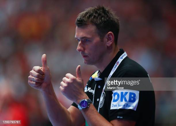 Christian Prokop head coach of Germany gives the thumbs up during the Men's EHF EURO 2020 main round group I match between Austria and Germany at...