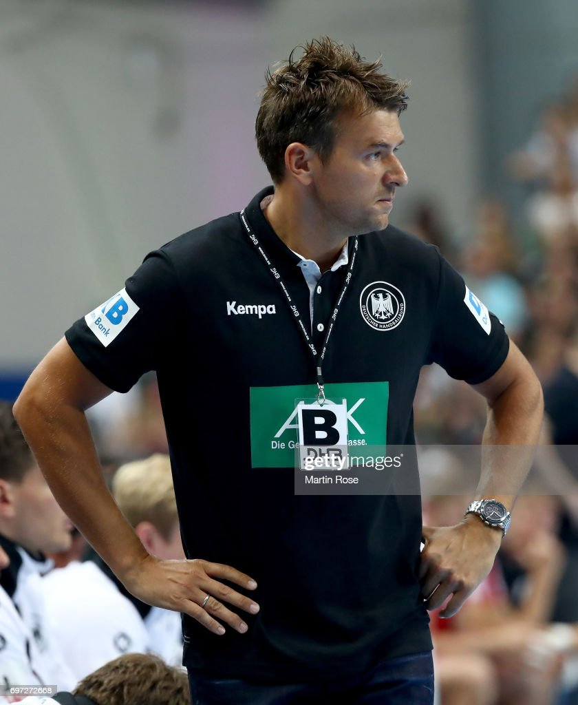 Christian Prokop, head coach of Germany reacts during the 2018 EHF European Championship Qualifier between Germany and Switzerland at OVB-Arena on June 18, 2017 in Bremen, Germany.