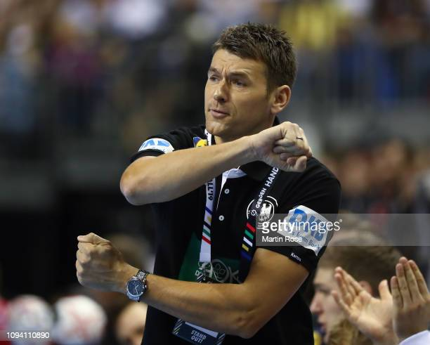 Christian Prokop head coach of Germany reacts during the 26th IHF Men's World Championship group A match between Russia and Germany at MercedesBenz...