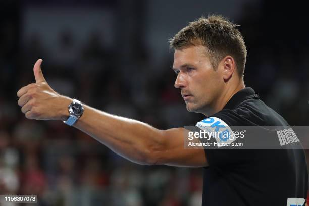 Christian Prokop head coach of Germany reacts during the EHF EURO 2020 Qualifier match between Germany and Kosovo at Arena Nuernberg on June 16 2019...