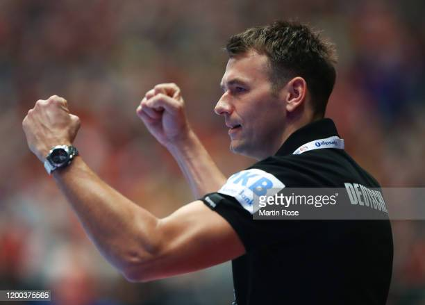 Christian Prokop Head coach of Germany reacts during the Men's EHF EURO 2020 main round group I match between Croatia and Germany at Wiener...