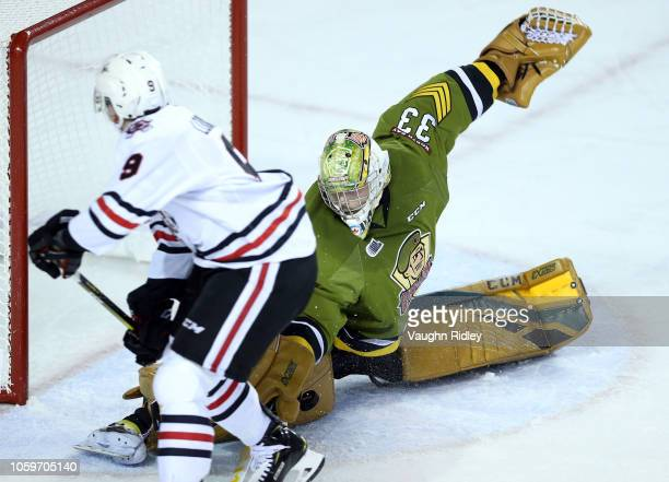 Christian Propp of the North Bay Battalion makes a save during the first period of an OHL game against the Niagara IceDogs at Meridian Centre on...