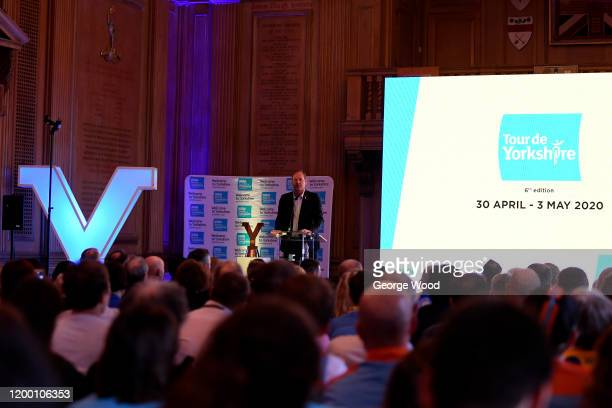 Christian Prudhomme director of the Tour de France delivers his speach during the 2020 Tour de Yorkshire Route Presentation on January 17 2020 in...