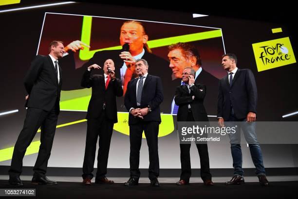 Christian Prudhomme of France Director of Le Tour de France, Eddy Merckx of Belgium Ex Pro-cyclist, Bernard Hinault of France Ex Pro-cyclist and...